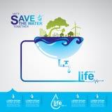 Sparen Ecologie van het Water de Vectorconcept Royalty-vrije Stock Fotografie