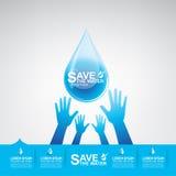 Sparen Ecologie van het Water de Vectorconcept Stock Foto's