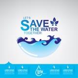 Sparen Ecologie van het Water de Vectorconcept Royalty-vrije Stock Foto's