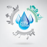 Sparen Ecologie van het Water de Vectorconcept Royalty-vrije Stock Afbeeldingen
