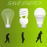Sparen energieconcept Evolutie van gloeilamp royalty-vrije illustratie