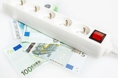 Sparen geld met energie - besparing Stock Foto