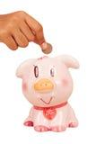 sparen geld met roze spaarvarken stock afbeeldingen