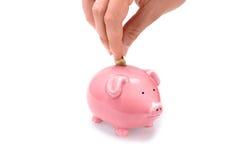 Sparen geld met spaarvarken! Royalty-vrije Stock Afbeeldingen