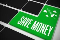 Sparen geld op zwart toetsenbord met groene sleutel Royalty-vrije Stock Foto