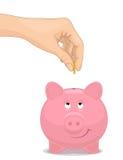 Sparen geld in spaarvarken Royalty-vrije Stock Foto's