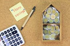 Sparen geld voor huis het kopen, Begrotingshuis Stock Afbeeldingen
