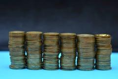 Sparen geld voor pensionering en rekeningsbankwezen voor financiënconcept, Mensenhand met muntstukgeld op de uitstekende stijl va Royalty-vrije Stock Foto's