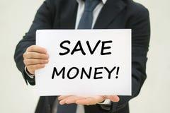 Sparen Geldtekst op papier Stock Fotografie