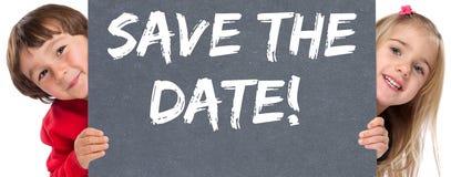 Sparen het bericht van de bedrijfs datumuitnodiging informatie jonge chil stock foto's