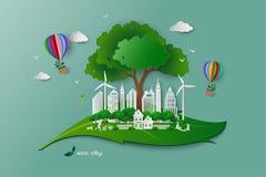 Sparen het de ecologieconcept van het milieubehoud, gelukkige ontspant de familie en met groene aard vector illustratie