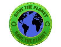 Sparen het etiket van de Planeet Royalty-vrije Stock Foto's