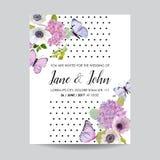 Sparen het Malplaatje van de het Huwelijksuitnodiging van de Datumkaart Botanische Kaart met Hydrangea hortensiabloemen en Vlinde Royalty-vrije Stock Foto