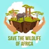 Sparen het wild van het concept van Afrika Royalty-vrije Stock Afbeeldingen