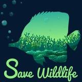 Sparen het wildthema met vissen onderwater royalty-vrije illustratie