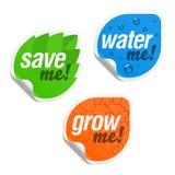 Sparen me, geef me water en kweek me stickers Stock Afbeeldingen