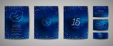 Sparen modische Heiratseinladungs-Karte des sternenklaren nächtlichen Himmels, das Datum Celestial Template mit Galaxie, Raum, St lizenzfreie abbildung