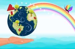 Sparen onze groene planeet, de Aarde Stock Afbeelding