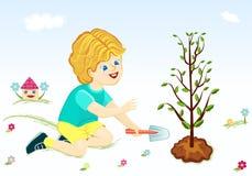Sparen onze groene planeet - jongen die boom plant Stock Foto