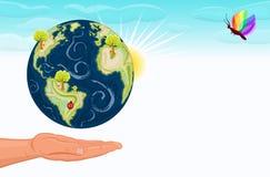 Sparen onze mooie planeet, Aarde stock illustratie