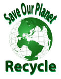 Sparen Onze Planeet - recycleer Royalty-vrije Stock Foto's