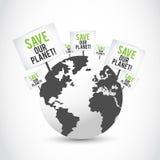 Sparen onze planeetbanners op aardeontwerp Stock Foto
