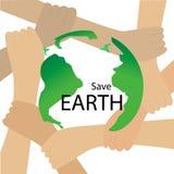 Sparen planeet vectorconcept Aarde die door handen wordt beschermd vector illustratie