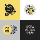 Sparen Sie das Datum - die Hochzeitsgraphik, die in barocke Art eingestellt wird. Vektor lizenzfreie abbildung