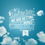 Sparen Sie das Datum für persönlichen Feiertag. Hochzeitseinladung. Vektor I Stockbild