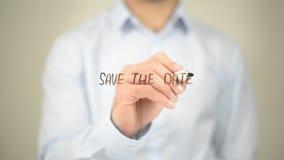 Sparen Sie das Datum, Mann-Schreiben auf transparentem Schirm Lizenzfreies Stockfoto