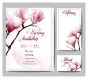 Sparen Sie das Datum mit blühender Magnolie Hochzeitseinladungskarte Vektorillustration Lizenzfreies Stockfoto