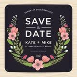 Sparen Sie das Datum und Einladungskarte mit Hand gezeichneter Kranzblumenschablone heiraten Blumenblumenhintergrund Stockbild