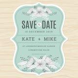 Sparen Sie das Datum und Einladungskartenschablone mit Hand gezeichnetem Blumenblumenhintergrund in der grünen tadellosen Farbe h vektor abbildung