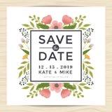 Sparen Sie das Datum und Einladungskartenschablone mit Hand gezeichneter Kranzblumen-Weinleseart heiraten Blumenblumenhintergrund Stockfotos