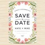 Sparen Sie das Datum und Einladungskartenschablone mit Hand gezeichneter Kranzblumen-Weinleseart heiraten Blumenblumenhintergrund Stockbild