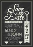 Sparen Sie das Datumskarten-Schablonendesign mit Typografie Lizenzfreie Stockfotos