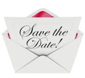 Sparen Sie den Datums-Einladungs-Parteiversammlungs-Ereignis-Umschlag-Zeitplan Stockfoto