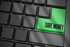 Sparen Sie Geld auf schwarzer Tastatur mit grünem Schlüssel Stockfotos