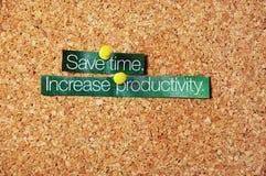 Sparen Sie Zeit, erhöhen Sie Produktivität Stockfotografie