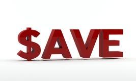 Sparen tekst in rood - Dollarteken Royalty-vrije Stock Foto