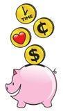 Sparen tijd, geld en liefde Stock Afbeelding
