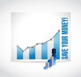 Sparen uw geld bedrijfsgrafiek stock illustratie