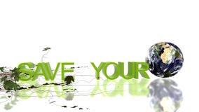 Sparen Uw Planeettekst met rollende Aarde en het groeien klimop, milieuconcept, voorraadlengte royalty-vrije illustratie