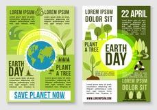 Sparen van de aardeaard en installatie boom vectormalplaatjes stock illustratie