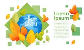 Sparen van de het Milieudag van de Aardewereld van de de Ecologiebescherming de Kaart van de de Vakantiegroet Royalty-vrije Stock Afbeelding