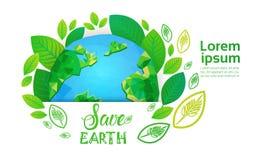 Sparen van de het Milieudag van de Aardewereld van de de Ecologiebescherming de Kaart van de de Vakantiegroet Stock Fotografie
