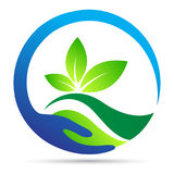 Sparen van het bladwellness van het aardembleem van de de aardeecologie van het de installatie groen symbool vector het pictogram Stock Afbeelding