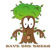 Sparen van het de fantasiejonge geitje van het boom de leuke beeldverhaal illustratie van het embleem vectoreco groene Stock Foto's