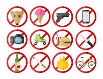 Sparen Vector verbiedende geplaatste de tekenspictogrammen van de Downloadvoorproef Royalty-vrije Stock Afbeelding