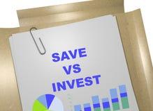 Sparen versus Invest concept Royalty-vrije Stock Afbeeldingen